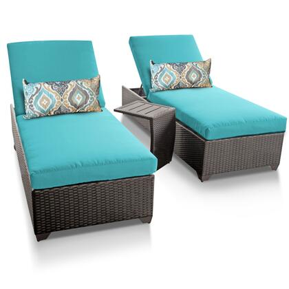 Barbados BARBADOS-2x-ST-ARUBA 3-Piece Patio Set with 2 Chaises and 1 Side Table - Wheat and Aruba