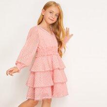 Vestido de niñas bajo a capas ribete con encaje panel fruncido