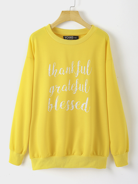 Yoins Plus Size Yellow Graphic Round Neck Long Sleeves Sweatshirt