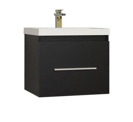 Ripley Collection AT-8006-B 24 Single Sink Bathroom Vanity with Soft Closing Drawer  Pure White Acrylic Countertop  Acrylic Resin Sink  Brushed