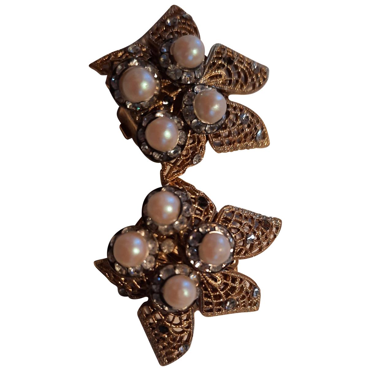 Non Signe / Unsigned Motifs Floraux OhrRing in  Gold Perlen