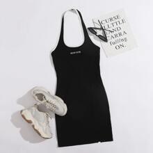 Letter Graphic Split Hem Halter Bodycon Dress
