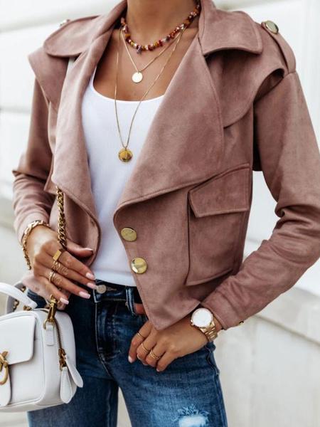 Milanoo Women Suede Jackets Turndown Collar Long Sleeve Front Button Short Jacket