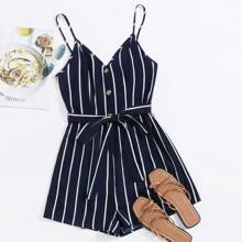Plus Button Front Belted Striped Cami Romper
