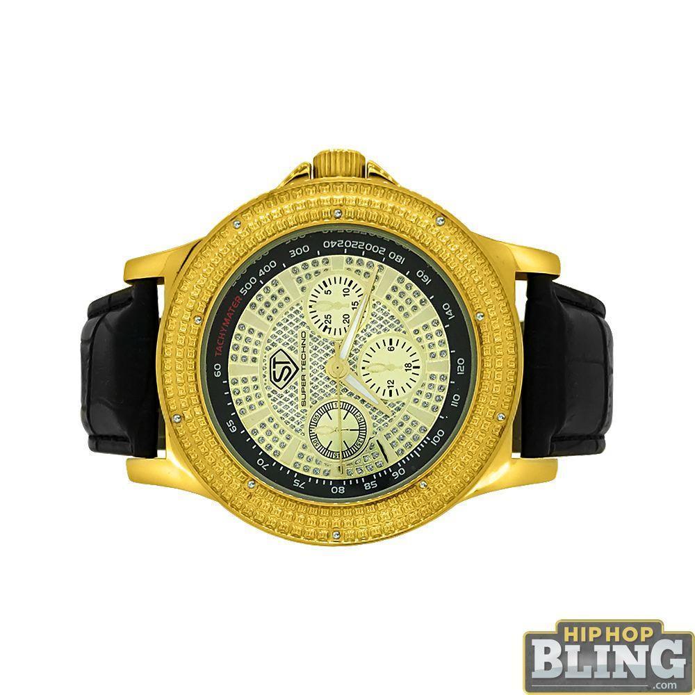 Tachymeter Gold Bling Diamond Super Techno Watch
