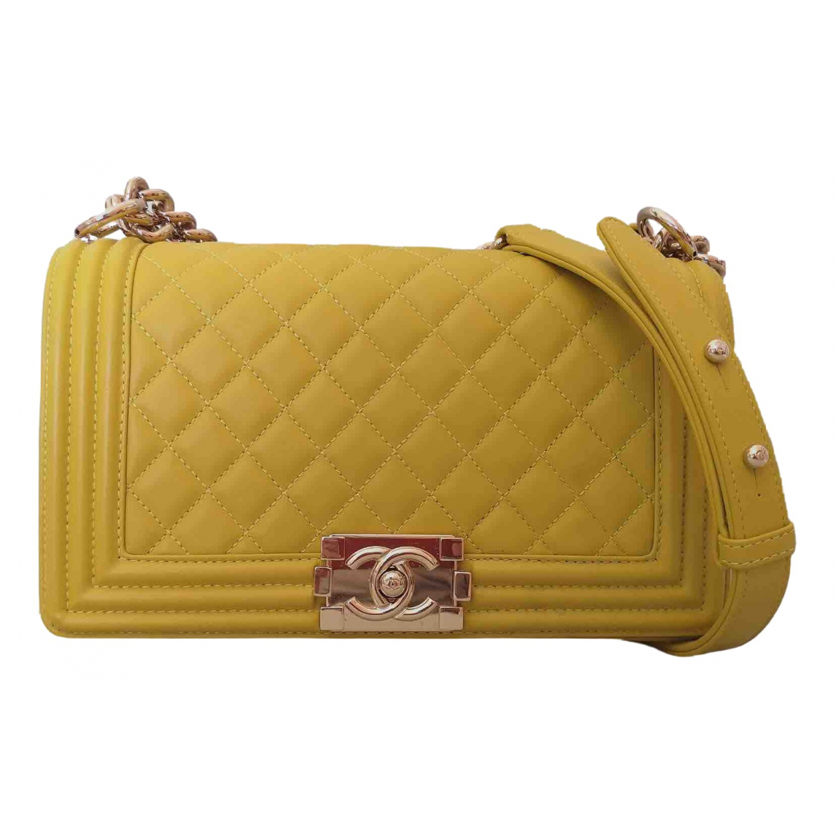 Chanel Boy Yellow Leather handbag for Women \N