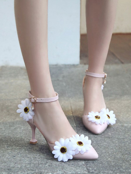 Milanoo Sweet Lolita Footwear Pink Daisy Flowers PU Leather Goblet Heel Lolita Shoes