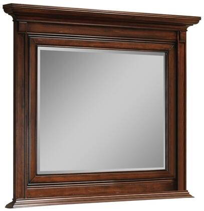 Bayliss Collection BA1856M 49 x 44 Mirror with Beveled Edge  Crown Top Molding  Rectangle Shape and Tropical Wood Construction in Distressed Brown