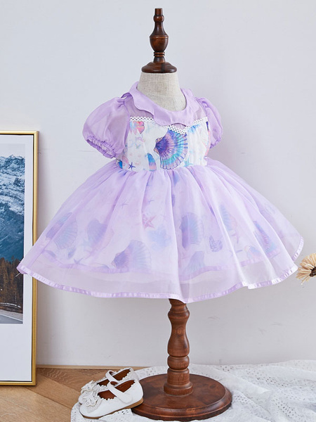 Milanoo Kids Lolita Dress Starfish Print Puff Sleeve Flower Girl Dress