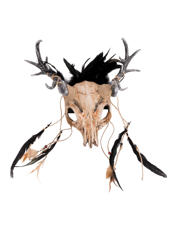 Kostuemzubehor Maske mit Geweih beige