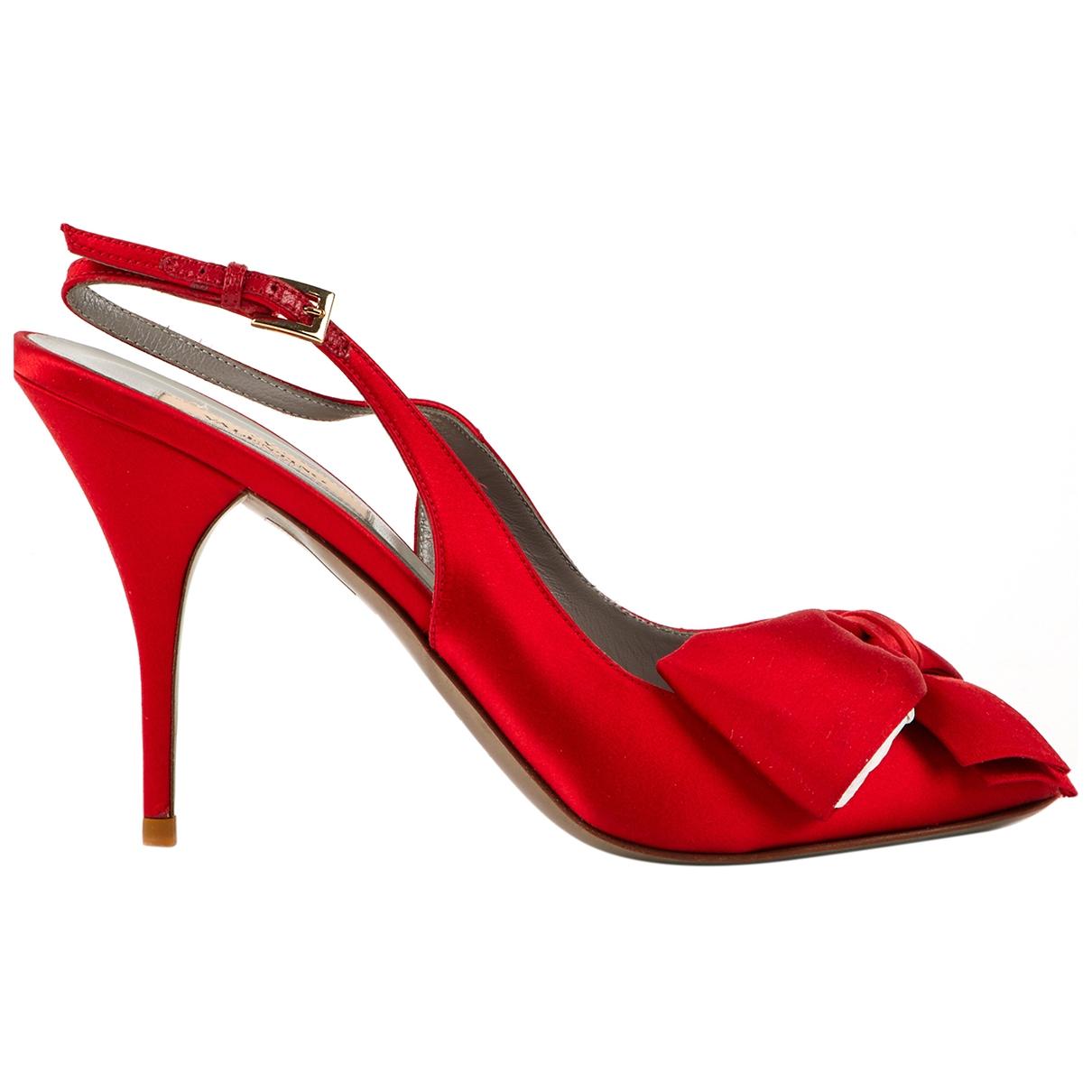 Valentino Garavani - Escarpins   pour femme en toile - rouge