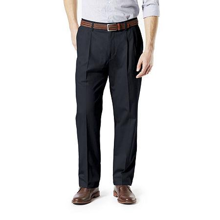 Dockers Men's Classic Fit Signature Khaki Lux Cotton Stretch Pants - Pleated D3, 30 32, Blue
