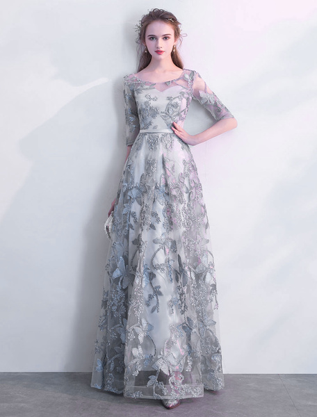 Milanoo Grey Prom Dresses Long Half Sleeve Illusion Floor Length A Line Formal Party Dress