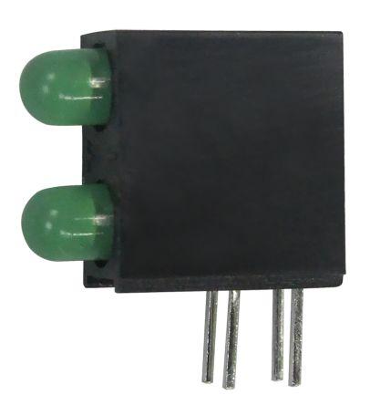 Kingbright L-93A8EB/2GD, Green Right Angle PCB LED Indicator, 2 LEDs, Through Hole 2.5 V (20)