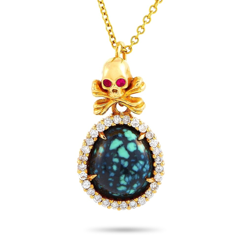 King Baby Yellow Gold Diamond, Ruby and Turquoise Skull and Crossbones Pendant Necklace Length N/A