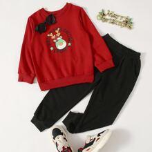 Toddler Boys Christmas Rib-knit Hem Sweatshirt & Slant Pocket Sweatpants