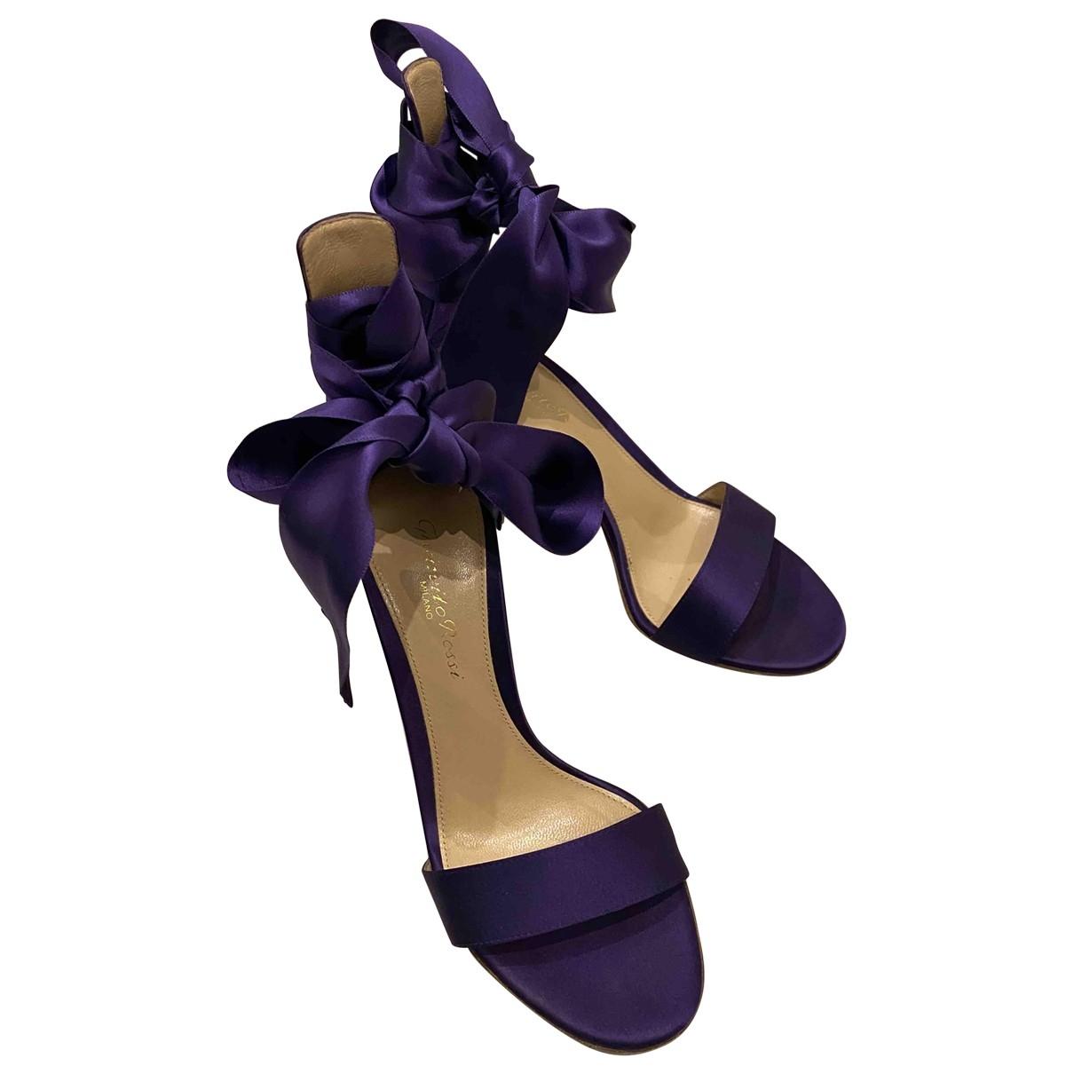 Gianvito Rossi Portofino Purple Cloth Sandals for Women 35 EU