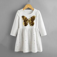 Toddler Girls Butterfly Reversible Sequin Galaxy Mesh Dress