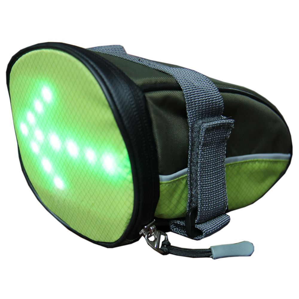 YKWB-B1030 Bicycle Taillight Bag Illuminated Warning Signal Bag With Remote Control for running bicycle - Green