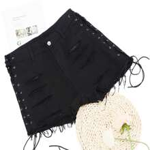 Shorts denim rotos bajo crudo con cordon - grande