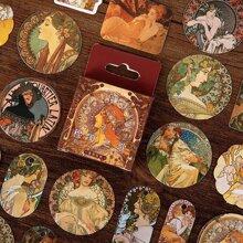 45 Stuecke Aufkleber mit Vintage Olmalerei Muster