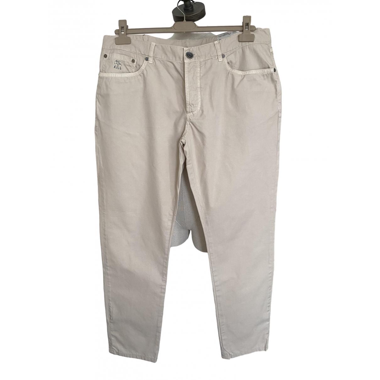 Pantalones en Algodon Beige Brunello Cucinelli