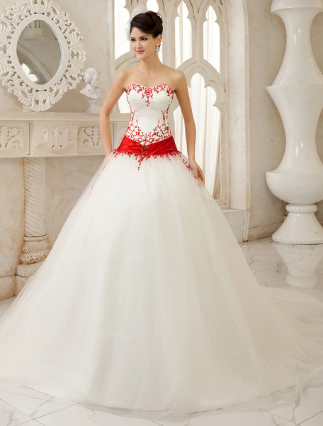 Milanoo Ivory A-line Sequin Chapel Train Satin Wedding Dress For Bride with Sweetheart Strapless Neck