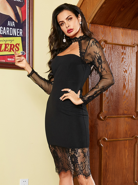 YOINS Mesh Lace Patchwork Crew Neck Long Sleeves Dress