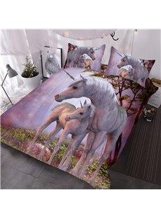 Heart-warming Pink Unicorn 3D Printed 3-Piece Comforter Sets