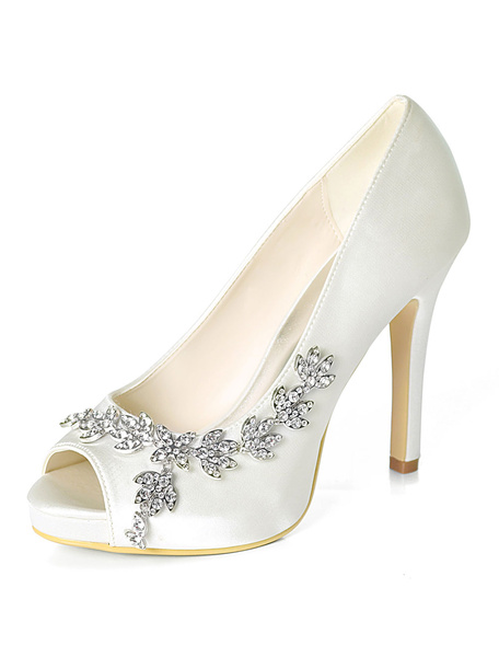 Milanoo Satin Wedding Shoes Purple Peep Toe Rhinestones High Heel Wedding Guest Shoes