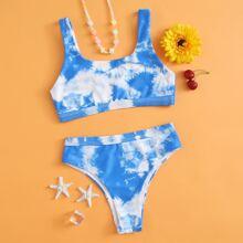 Maedchen Bikini Badeanzug mit Batik