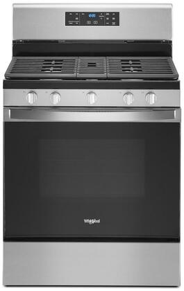 WFG525S0JS 30 Freestanding Gas Range with 5 Burners  5 cu. ft. Capacity  Center Oval Burner and Cast-Iron Grates in Stainless