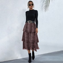 Cheetah Print Tiered Layer Skirt Without Belt