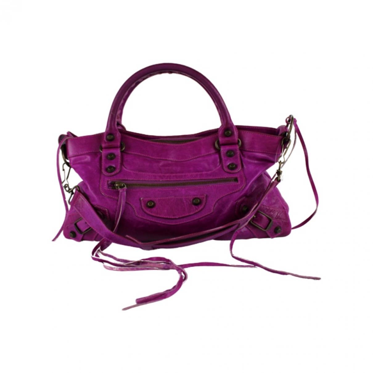 Balenciaga First Purple Leather handbag for Women \N
