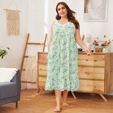 Plus Lace Trim Ruffle Hem Floral Print Nightdress