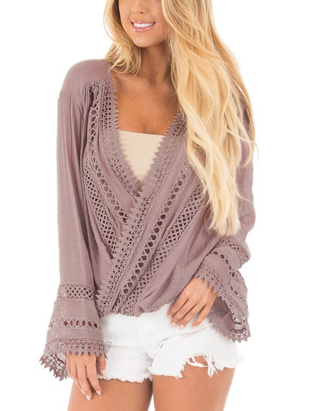 Yoins Pink Mauve Surplice Crossover Front Drape Top with Crochet Details