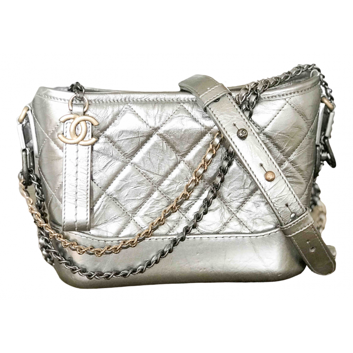 Chanel Gabrielle Silver Leather handbag for Women \N