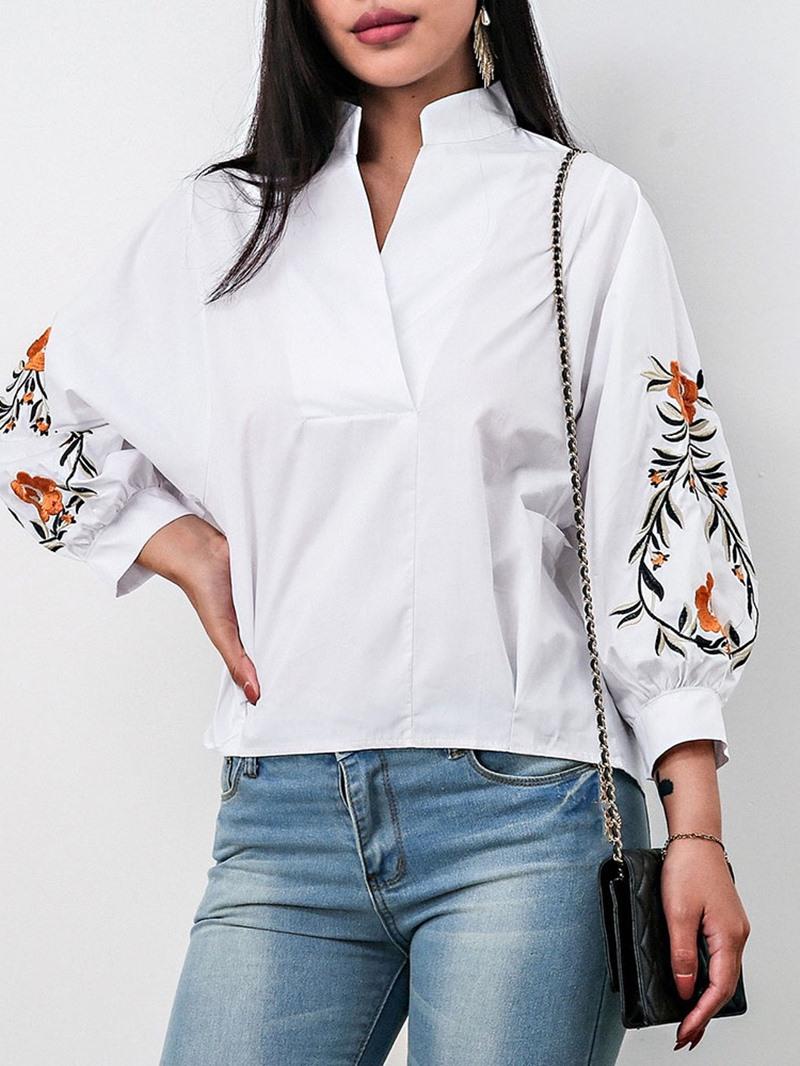 Ericdress Embroidery Lantern Sleeve Floral Mid-Length Nine Points Sleeve Blouse