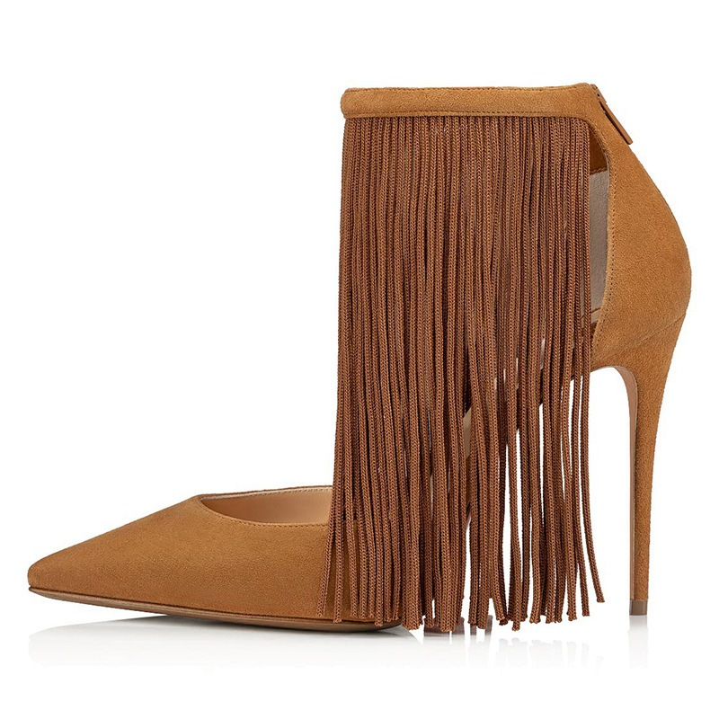Ericdress Pointed Toe Fringe Zipper High-Cut Upper Thin Shoes