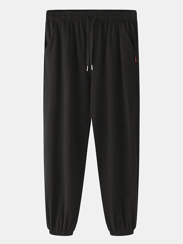 Plain Beam Feet Bottoms Loungewear Drawstring Loose Cozy Pajamas Pants for Men