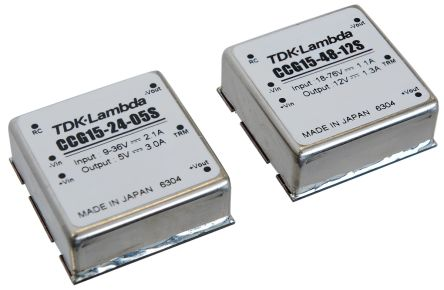 TDK-Lambda CCG15 13.2W Isolated DC-DC Converter Through Hole, Voltage in 18 ? 76 V dc, Voltage out 3.3V dc