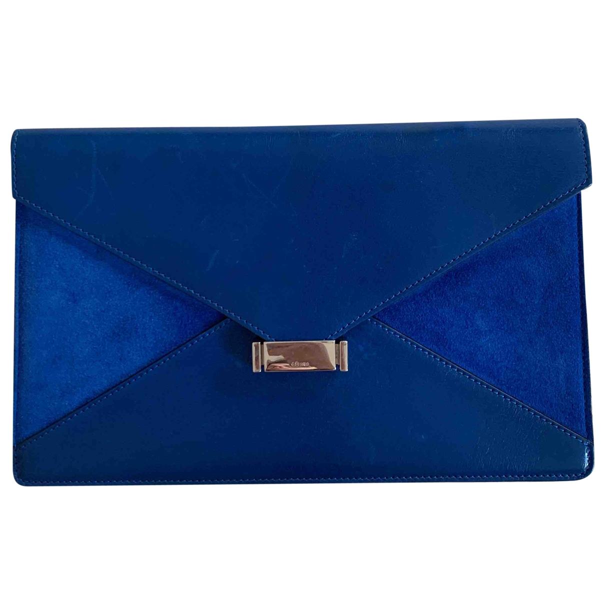 Celine - Pochette Diamond Clutch pour femme en cuir - bleu