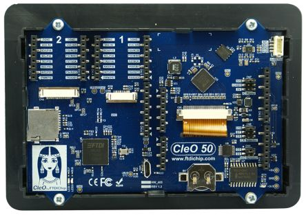 Bridgetek CleO50A, CleO 5in Resistive Touch Screen Arduino Shield With 2 x MikroBus Slots
