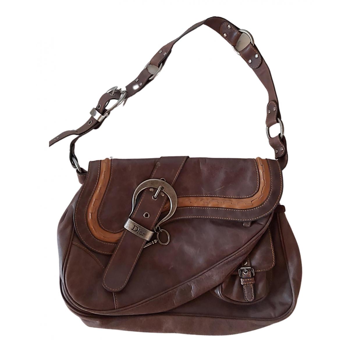 Dior Gaucho Handtasche in  Braun Leder