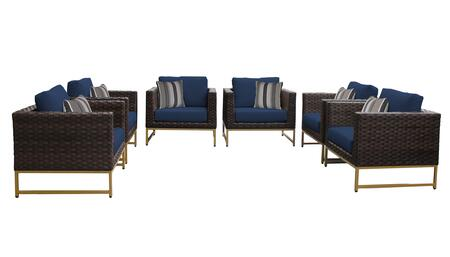 Barcelona BARCELONA-06w-GLD-NAVY 6-Piece Patio Set 06w with 6 Club Chairs - Beige and Navy Covers with Gold