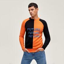 Pullover mit Buchstaben Grafik, Raglanaermeln und Farbblock