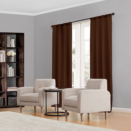 Eclipse Kendall Rod-Pocket Thermal Blackout Curtain Panel, One Size , Brown