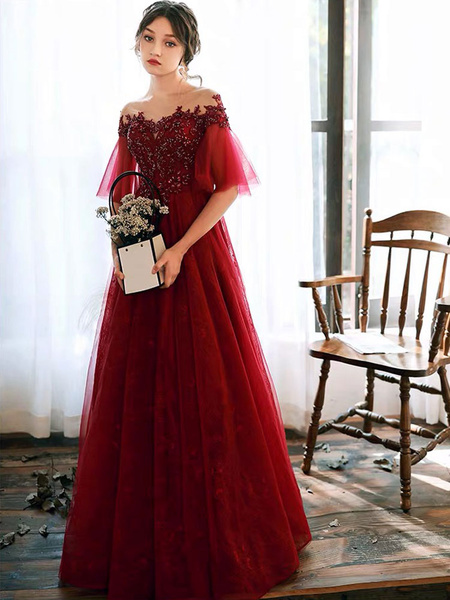 Milanoo Prom Dress Illusion Neckline A Line Half Sleeves Lace Floor Length Tulle Party Dresses