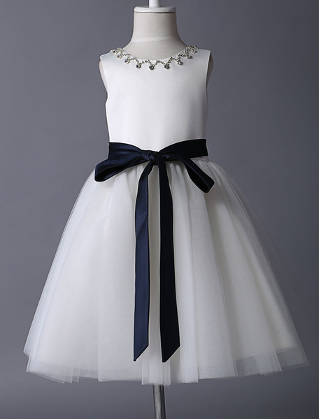 Milanoo Vestido de damitas con escote redondo y pedreria sin mangas