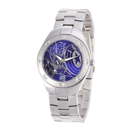 Marvel Fortaleza Captain America Mens Silver-Tone & Blue Watch, One Size , No Color Family